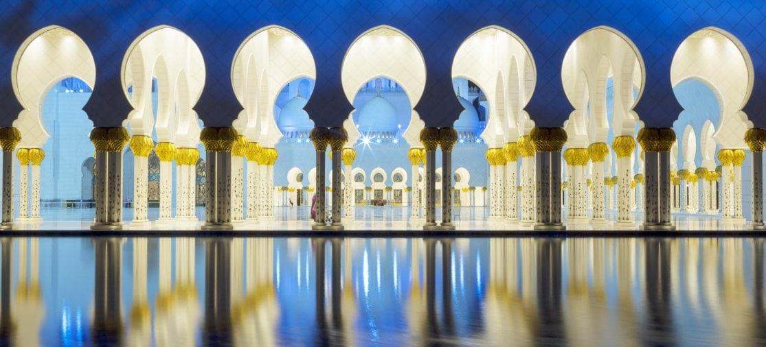 Moskee bij nacht Abu Dhabi