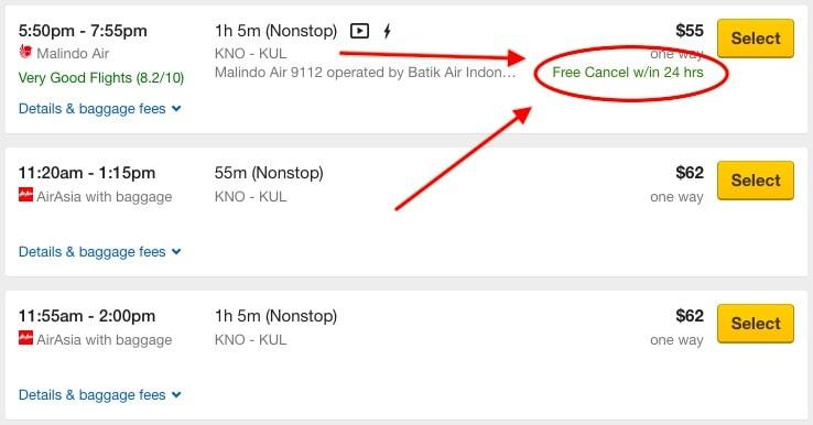 Selecteer een vlucht die je binnen 24 uur kunt annuleren